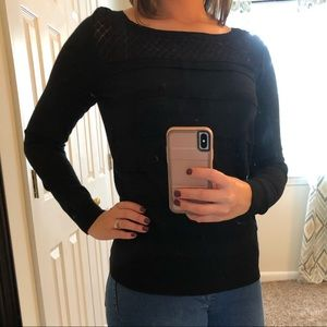 Black Loft Lace and Scallop Front Sweater